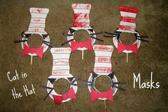 dr seuss crafts for preschool   Celebrate Dr. Seuss' birthday with this DIY Cat in the Hat mask!