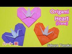 折り紙 1枚 ハートの四つ葉のクローバーしおり 簡単な折り方(niceno1)Origami Heart with four leaf clover(Lucky clover)bookmark tu - YouTube Diy Paper, Paper Crafts, Origami Cards, Origami Animals, Message Card, Crane, Mini Albums, Valentines, Messages