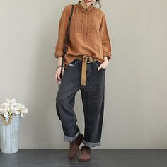 Women Casual Cotton Linen Shirt Fashion Tops For Fall Look Fashion, Autumn Fashion, Estilo Grunge, Urban Fashion Trends, Mode Boho, Ladies Dress Design, Casual Chic, Shirt Style, Casual Outfits