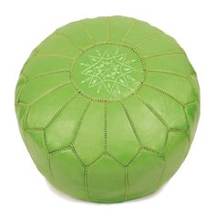 Moroccan Leather Pouffe (green)