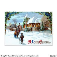A Peaceful Winter Scenic. Going to church on Christmas Eve - a 1911 vintage Xmas card illustration - stock photo Winter Christmas Scenes, Old Christmas, Victorian Christmas, Winter Scenes, Christmas Gifts, Christmas Ornaments, Images Noêl Vintages, Clipart Noel, Art Clipart