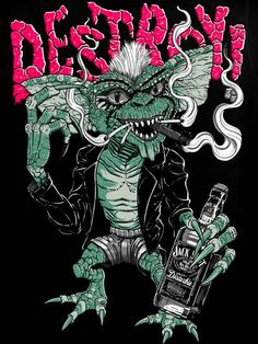 Gremlins #design #creative #create #poster #graphic #vintage #diseño #cartel #gremlin #movie #films | www.leviathan13.com/