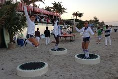 Alongside invited guests, models participated in the bevy of beach games, activities that included jumping on trampolines.