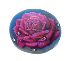 Stone Painting Purple Rose with Water Drops by RockArtAttack!