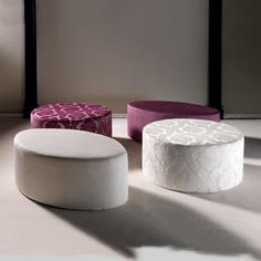 Rounded pouffs Elleo Tondo: rounded poufs with wood frame and fabric upholstery | milanomondo