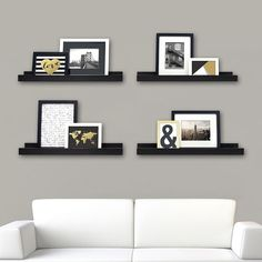 The kieragrace Stockholm Edge Picture Frame Ledge will support picture frames and wall art. Display photos, artwork and more on these sleek and stylish picture frame ledges. This floating shelf comes fully assembled with easy to install hanging hardware. Picture Ledge, Picture Frames, Picture Walls, Picture Shelves, White Picture, Photo Shelf, Picture Collages, Photo Walls, Wall Ledge Shelf