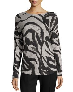 Cashmere-Blend Graphic Animal-Print Sweater, Zebra Aerial by Neiman Marcus at Neiman Marcus Last Call.