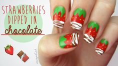 A nail art design tutorial for Strawberry Nails that have been dipped into milk chocolate and drizzled with white chocolate! This is SUCH a fun DIY nail art ...