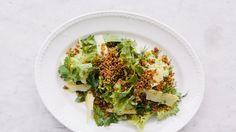 Escarole Salad with Anchovy Cream and Crispy Quinoa Recipe | Bon Appetit