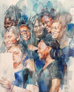 "✨ Take a look at the winning artists in this year's Watermedia Showcase competition! Pictured here: ""Song of Hope, Faces of Dallas: (watercolor on paper, 60×48) by Watermedia Showcase Best of Show award winner Stephen Zhang. See his winning painting here. Watercolor Painting Techniques, Watercolor Artists, Watercolor Portraits, Watercolor Paintings, Art Competitions, Award Winner, Online Gallery, Figure Painting, Medium Art"