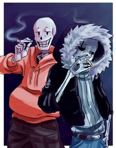 All of these AUs are so hard to keep track of! Here, we have Underswap Papyrus and Gaster!Sans from Echotale