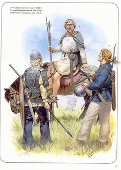 1: Scandinavian mercenary, 10th century  2: Anglo-Danish warrior 9th-10th century  3: Hiberno-norse jarl 11th century  Illustrated by Gerry Embleton