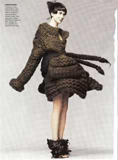giles deacon. Chunky knit, has depth/levels to it. I often use brown tones in my work so I appreciate the colour, too.