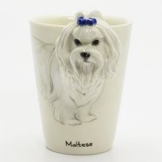 http://www.muddymood.com  Original hand sculpt and hand paint   Maltese Dog Ceramic Mug Handmade.