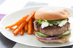 Harissa Lamb & Beef Burgers with Roasted Carrot Fries. Visit https://www.blueapron.com/ to receive the ingredients.