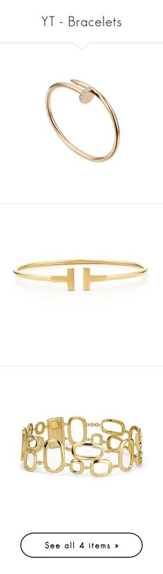"""YT - Bracelets"" by gracebeckett ❤ liked on Polyvore featuring jewelry, bracelets, cartier, accessories, wire bangles, 18k bangle, 18 karat gold jewelry, tiffany co jewellery, tiffany co jewelry and rannekorut"