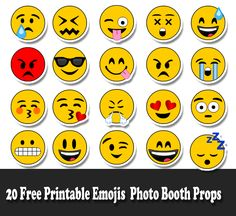 20 Free Printable Emojis Photo Booth Props