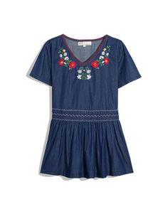 CliPick 的Pazzo 的小花蔓延刺繡裙擺上衣