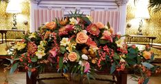 This stunning ceremony table arrangement for Christines wedding really suited its place Such warm colours for a dark evening wedding. Wedding Bells, Wedding Flowers, Warm Colours, Table Arrangements, Table Flowers, Wedding Styles, Floral Wreath, Tables, Wreaths