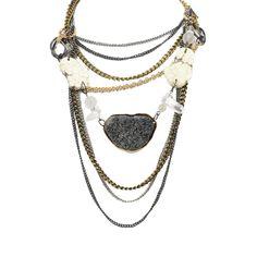Carol Dauplaise Chain Drape Stone Necklace Gold/Hematite/Cream up to 70% off | Jewelry | Little Black Bag