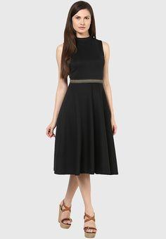 05ae4c7bbe8df Buy Harpa Black Colored Solid Skater Dress Online - 4366693 - Jabong