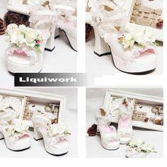White Platform High Heel Ankle Strap Lolita Wedding Party Shoes Sandals SKU-11405453