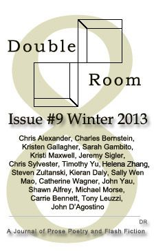 Double Room: A biannual literary publication founded in 2002 by Peter Connors and Michael Neff designed to explore the intersection of prose poetry and flash fiction. For more, visit http://doubleroomjournal.com/