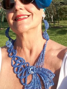 Crochet Necklace   Blue  Color   with a Silver Sheen by knittee