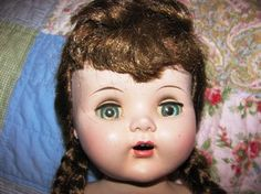 Vintage Doll Baby Crying Baby Brown hair Green by TheIDconnection, $32.00