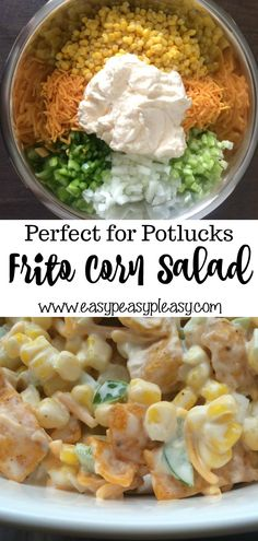 The Perfect Potluck Salad - Easy Peasy Pleasy - - This Frito Corn Salad is your go to crowd pleasing perfect potluck salad. Super easy to make ahead of time and mix right before serving. Check out all my tips to make the perfect potluck salad. Best Potluck Dishes, Easy Potluck Recipes, Easy Meals, Food For Potluck, Easy Potluck Side Dishes, Easy Potluck Appetizers, Potluck Meals, Healthy Potluck, Picnic Potluck
