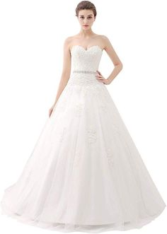 e2ef06967a61 ScelleBridal Sweetheart Strapless A-line Lace Appliques Wedding Dresses for  Bride Ivory 14 at Amazon Women's Clothing store: