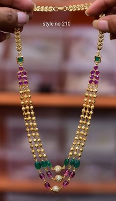 Gorgeous one gram gold long haaram with triple layer gundla haaram. Pearl Necklace Designs, Jewelry Design Earrings, Gold Earrings Designs, Bead Jewellery, Hoop Earrings, Gold Jewelry Simple, Gold Rings Jewelry, Jewelry Necklaces, Gold Bangles Design