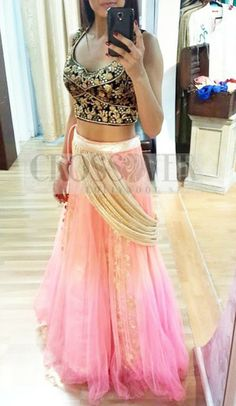 Crossover Bollywood Light Pink With Black Embroidered Only like the lehenga Indian Look, Indian Ethnic Wear, Pakistani Outfits, Indian Outfits, Punjabi Girls, Desi Clothes, Indian Clothes, Desi Wear, Indian Couture