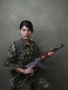 Women of the Shingal Resistance Unit: Berxwedan, Evrim, Amara, and Sinjar Mountain, Iraq /Joey L. - NYC-based Photographer and Director Military Couples, Military Women, Joey Lawrence, Syrian Civil War, Female Fighter, Female Soldier, Arm Armor, Ak 47, Kurdistan