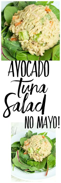 This Avocado Tuna Salad recipe is made with no mayo! This makes a great high-protein, low-carb lunch idea! Great paleo lunch recipe. #weightlossbeforeandafter