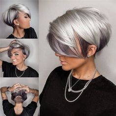 Metallic Hair Color, Hair Color Pink, Blue Grey Hair, Purple Hair, Grey Pixie Hair, Blonde Pixie Cuts, Dark Silver Hair, Platinum Silver Hair Color, Silver Ombre Hair