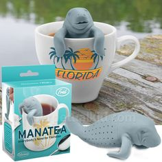 Everybody's favorite Floridian wants to brew you a nice cup of tea and share a slow, calm moment.  Our ManaTea Tea Infuser loves relaxing in your warm water while it brews your tea!  This gentle creature just wants to rest in your mug!It's mana... tea time!No actual manatees were harmed in the making of this product!Molded from virgin, food-safe silicone.