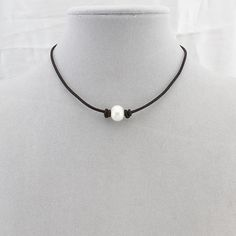 Pearl chokerhigh luster pearl leather by WangDesignJewelry on Etsy