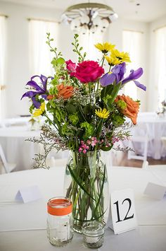Colorful Wildflower Wedding Centerpieces 275x414 Blue Ridge Mountains Wedding Reception: Lori + Will