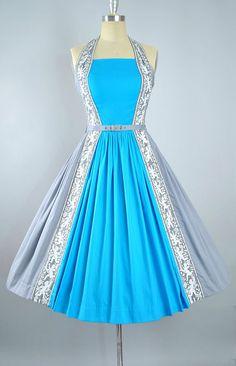 Vintage 50s Novelty Print Dress / 1950s Cotton Belted Sundress
