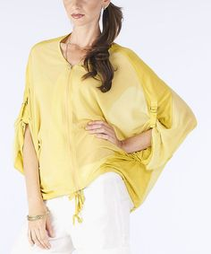 Take a look at this Kiwi Sheer Zipper Cape-Sleeve Top by miilla  on #zulily today!