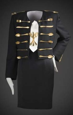 """""""Dinner Jacket"""" Ensemble by Franco Moschino Fall/Winter 1989-1990 Wool, wool and acetate, linen and metal flatware LACMA"""