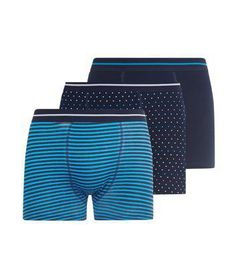 New Look 3 Pack Light Blue Stripe Blue Polka Dot and Navy Boxers #underwear #covetme