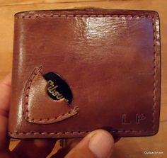 Im sorry, but this is a fantastic idea!   Handmade Men's Genuine Leather Guitar Pick/ Billfold  Wallet **With or With Out Initials** on Etsy, $40.00