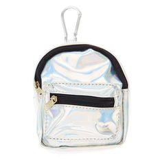 Claires : Silver Holographic Mini Backpack Purse Keychain