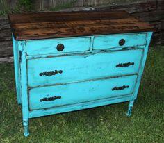 Refinished teal dresser