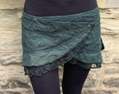 Pixie, mini falda, psy, Goa, hippie, steampunk, verde oscuro