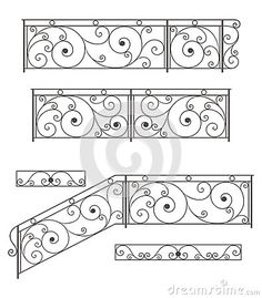 Photo about Vector set: wrought iron stairs railing, fence and grilles isolated on white background. Illustration of decorative, design, entrance - wrought iron fence - I wonder if a toddler could get through this and into…Home Decorators Steel Railing, Wrought Iron Stair Railing, Wrought Iron Fences, Staircase Railings, Staircase Design, Balustrade Inox, Balustrade Balcon, Balustrades, Iron Handrails