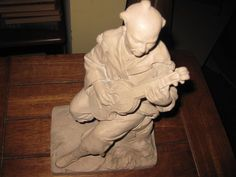 "1975 Austin Production Statue The Lute Player 11"" x 6 1/2"" x 4 1/2"" Stone Like #Asian"