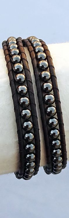 Men's Leather Bracelet, Hematite Beaded Wrap Bracelet